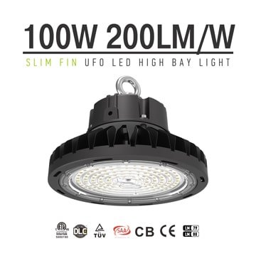 100W Slim Folding Aluminum Fin Carport, Warehouse, Area UFO LED High Bay Light, Industrial LED Lamp