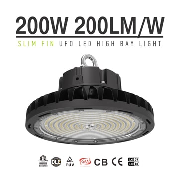 200W Slim Fin UFO LED High Bay Light-High Lumen Facory, warehouse, shop, workshop commerce industrial High ceiling lighting