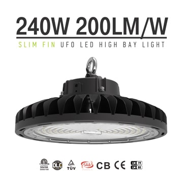 240W Black 5700K 90, 120 degree lens Dimmable Slim Fins UFO LED High Bay Lighting wholesale