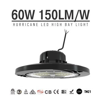 60W 9000Lm 150LM/W Sosen Hurricane UFO High Bay Light Fixtures - 175W MH Equivalent - 5000K