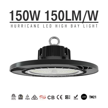 150W High Lumens Dimmable DLC RoHS UFO LED High Bay Auditorium Stadium Lamp