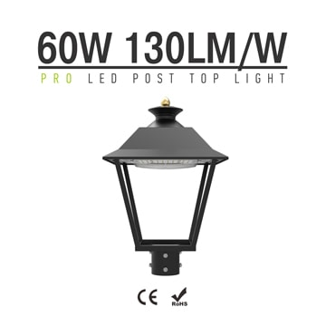 LED Post Top Pole Lights, 60W 7,800Lm 3000K Outdoor Waterproof Urbanscape Decorative Area Top Light Fixtures