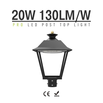 20W 2,600lm LED 120 Degree Post top Luminaire - 4m Pole Outdoor Light is equivalent to 60W MH lamp