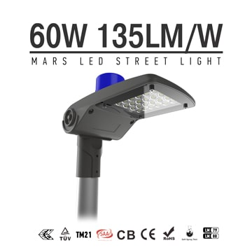 60W Dimmable LED Street lamp With Slip Mount, 135LM/W IP66 Waterproof 5700K Pole mounted Lights