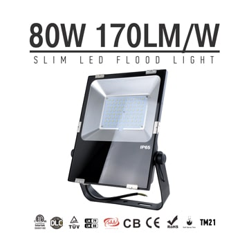 80W LED Flood Light Fixtures 9600Lm Waterproof  SAA Ctick CE RoHS