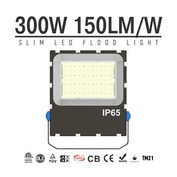 300W LED Flood Light Dimmable 5700K Daylight IP66 Waterproof Area Lighting - Equivalent to 500w metal halide