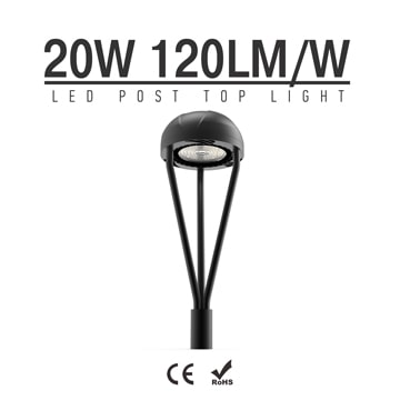 Outdoor 20W LED Post Light Fixture, 100-277V 60-76mm Exterior Circular Area Light, CE RoHS IP65 Garden Light
