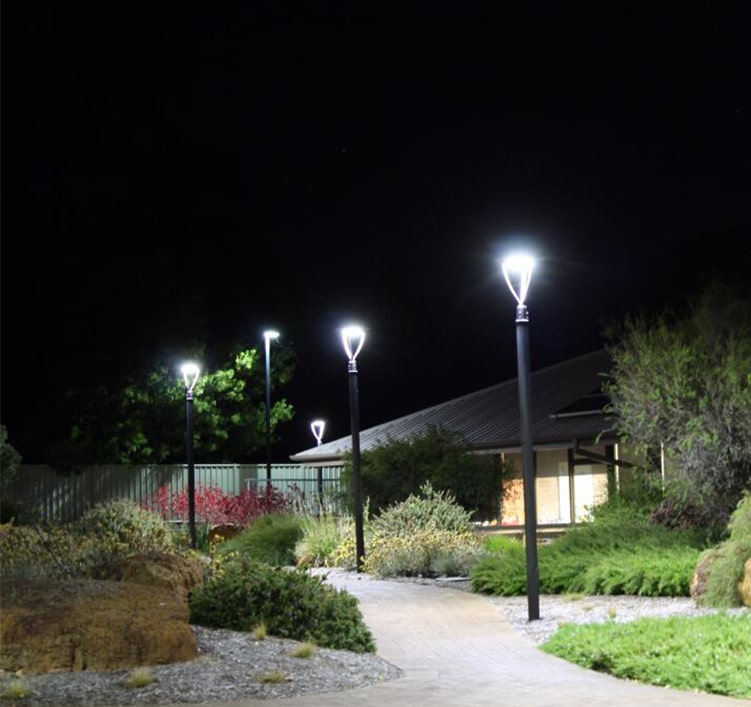 Outdoor 20W LED Post Light Fixture, 60-76mm Exterior Circular Area Light, CE RoHS IP65 Garden Light