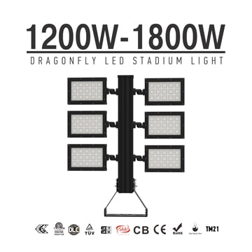 1200W/ 1440W/ 1800W Football Field LED Flood Lighting - Best High Power Sport Stadium Light fixtures - Equivalent to 3500-4000W HPS MH