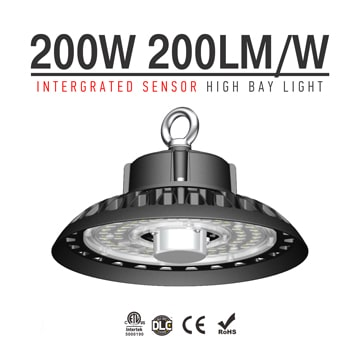 200W Adjustable wattage Smart Dimming UFO LED High Bay Light -  6-20meter Black Die-casting Ceiling Hang Lighting
