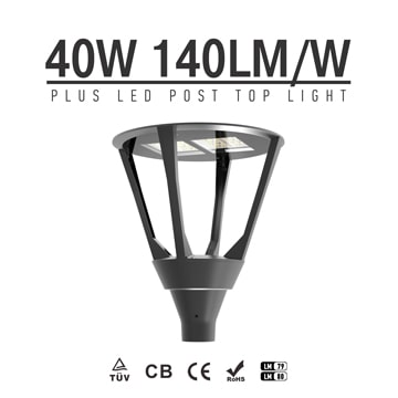40W Outdoor Plus LED Post Top Light Wholesale - Modern Exterior Post Lighting Fixture with 3.5-Inch Mounting holes