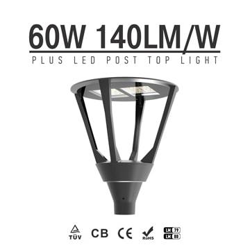 60W 8400lm LED Garden Light Post Top Lantern, Modern Lawn, Pathway Driveway Post Light