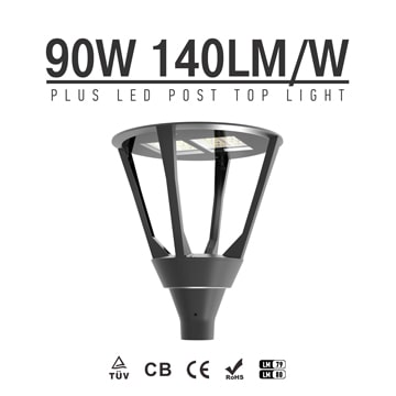 90W 12600lm 240 Volt Post Top Lights, Daylight Waterproof Aluminum Exterior Post Lantern Light
