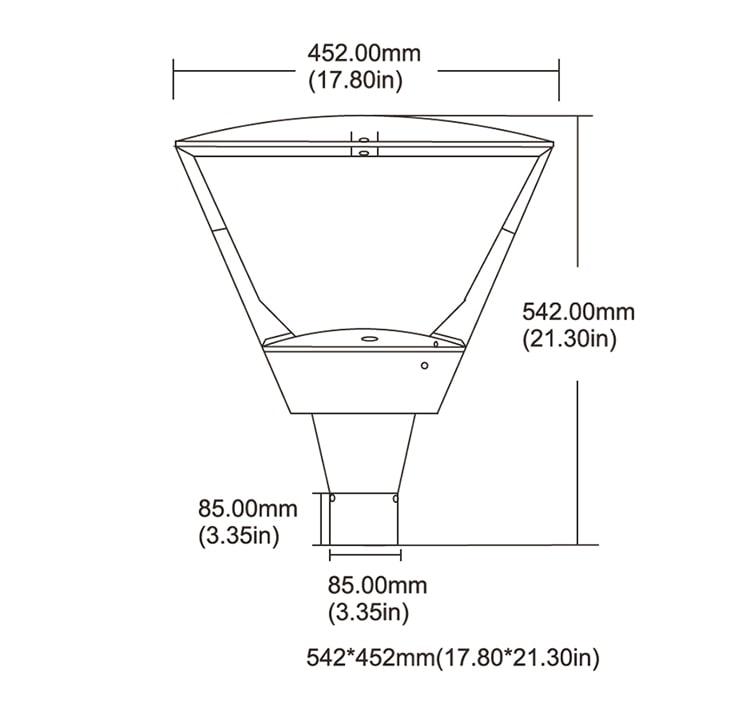 90W 12600lm 240 Volt LED Post Top Lights, Daylight Waterproof Aluminum Exterior Post Lantern Light