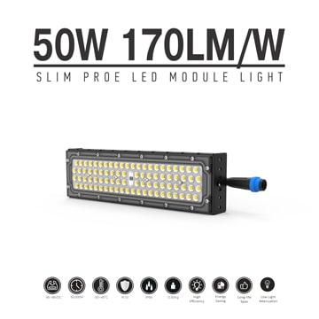 50W Slim ProE LED Module Light, 42-46VDC M15 Waterproof Male Plug Aluminum Fin Moduler Lighting