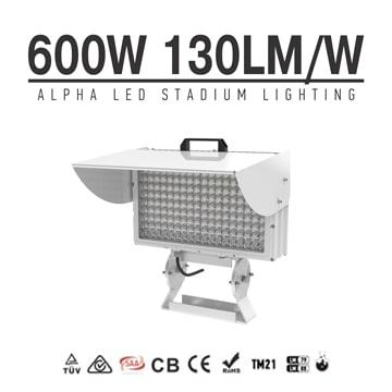 Alpha 600W LED Sports Light - No Glare, No Flicker Gray 78,800lm 4000-6000K Type4 Outdoor Stadium Lighting