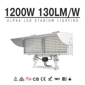 Alpha 1200W High Power Square LED Stadium Light - Low-Glare 180-277V Outdoor Waterproof Sports Arena Flood Light