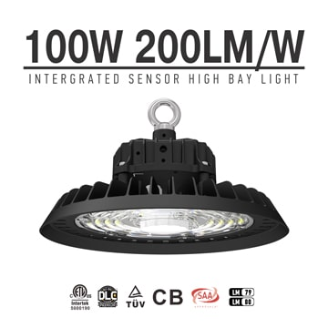 100W UFO LED High Bay Light With Intergrated Sensor, Pluggable Motion Sensor High Bay warehouse Lamp