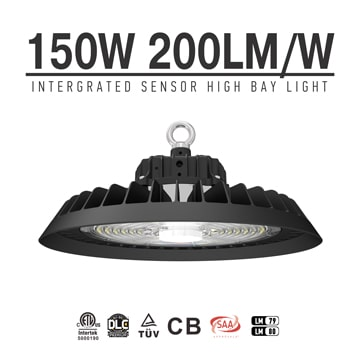 Intergrated Sensor 150W UFO LED High Bay Light 30000lm, Industrial Factory warehouse,commercial Exhibition, Shop Ceiling Lighting