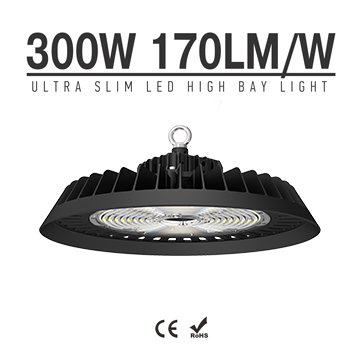 300W 170Lm/W UFO LED High Bay Light - Industrial 15-25meter Ceiling Warehouse Security Work Lighting Wholesale