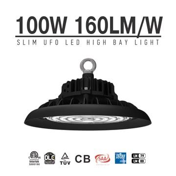 100W Slim UFO LED High Bay Light - High CRI Industrial Commercial Indoor Area Hanging Lighting Fixtures