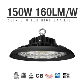 150W UFO LED High Bay High Ceiling Light 24000lm with plug, Dimmable Warehouse Waterproof Safety Light