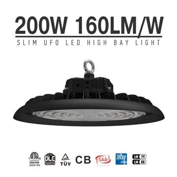 Slim 200W UFO LED High Bay Light | DLC TUV Lightweight and durable Indoor Hanging Industrial lighting