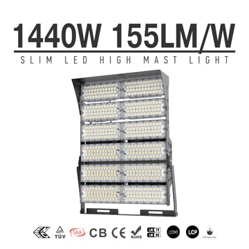 1440W 160LM/W LED Airport High Mast Lighting, Wharfs Flood Light fixtures