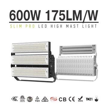 600W 720W LED Stadium Light, Black, White Dimmable Folding Aluminum Fin Tennis court, baseball field Light