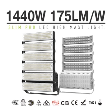 Outdoor 6 Module 1440W High Power LED Sports Lights - 252,000lm - 175lm/w - 5years warranty