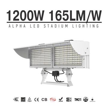 Alpha 1200W High Power Square LED Stadium Light - Low-Glare 176-305V Outdoor Waterproof Sports Arena Flood Light