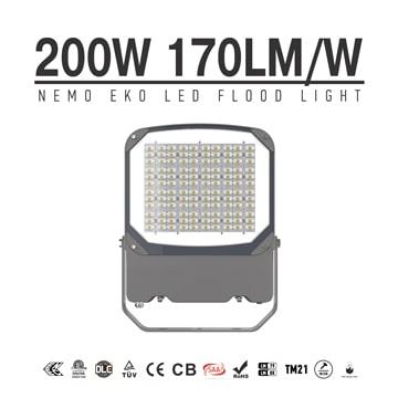 NEMO EKO 200W 34000lm Outdoor LED Flood Light with Plug - Adjustable bracket Security Exterior Dimmable Flood Lamp