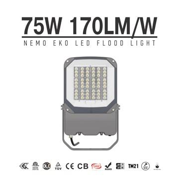 Nemo EKO 75W LED Flood Light with Sensor, Security 1-10V Dimmable  IP66 Waterproof External wall, Area Flood Lighting