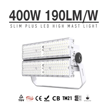 400W 76000Lm 190Lm/W LED Lights, Folding Aluminum Fin High Mast, High Pole, Flood Light