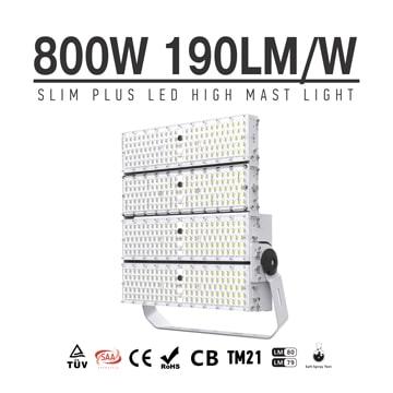 800W 152000 Lumens LED High Pole Flood area lights, 2000W Metal Halide Equal