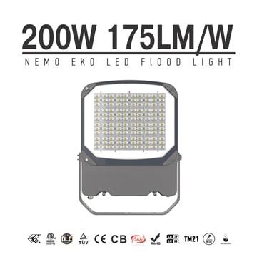 NEMO EKO 200W 35000lm Outdoor LED Flood Light with Plug - Adjustable bracket Security Exterior Dimmable Flood Lamp