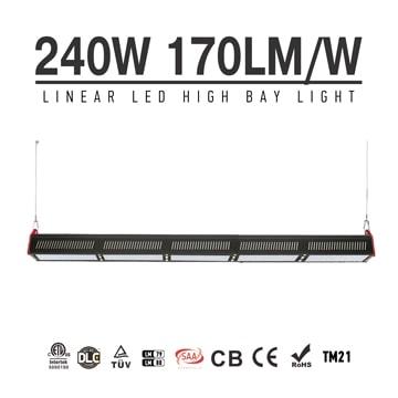 240W LED Linear High Bay Light 40800Lm TUV CE RoHS ETL DLC