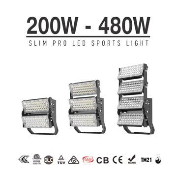 200W-480W Adjustable Rotating Module LED Sports Flood Light - Lightweight Dimmable Outdoor Light fixtures