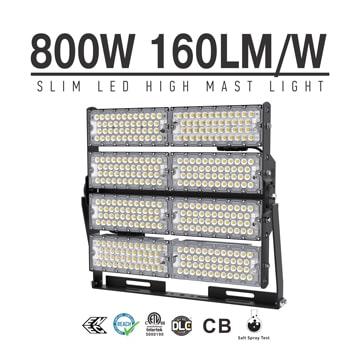 800W LED High Mast Lighting Manufacturers in china, Rotatable Module,160Lm/W,128,000 Lumen,IP65,Stadium Light,Sports Lighting,Flood Lighting