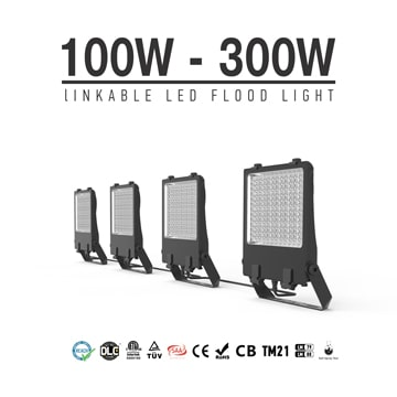 110V 220V Linkable LED Flood Light Fixtures, 100W 150W 200W 240W 300W Waterproof Temporary outdoor lighting