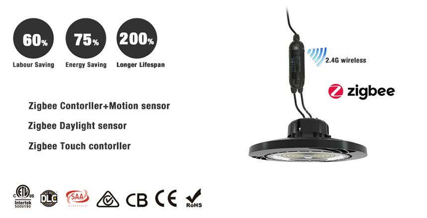 sosen 130lm/w dlc etl saa ce rohs ufo 60W led high bay light with zigbee wireless controls