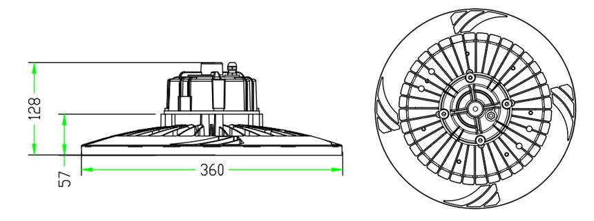 200w 130lm/w sosen ufo led high bay light size