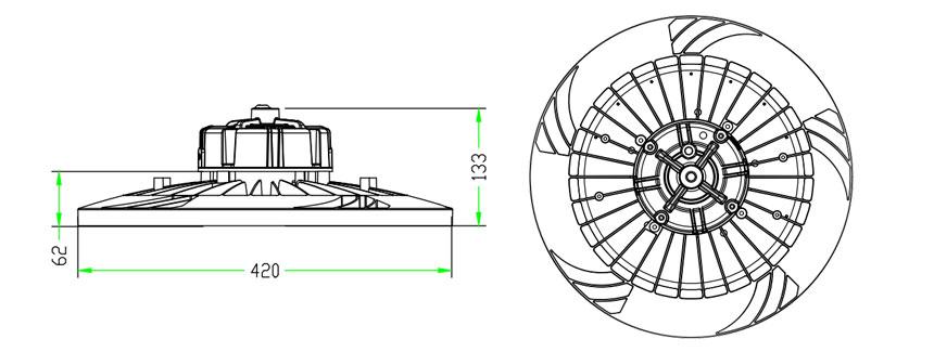150lm/w 240w hurricane ufo led high bay light size