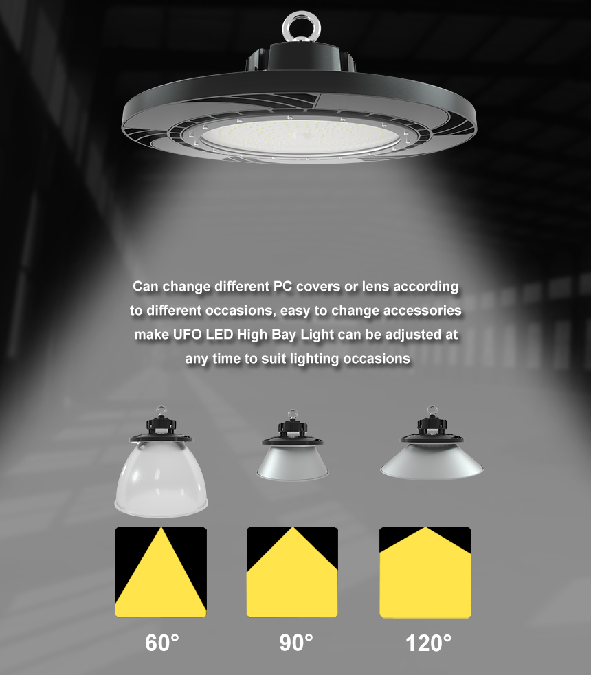 130lm/w 150w ufo led high bay light beam angle