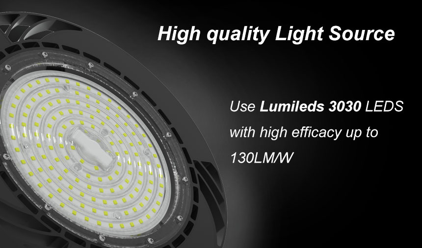 130lm/w meanwell driver ce rohs 100w ufo led high bay light light source