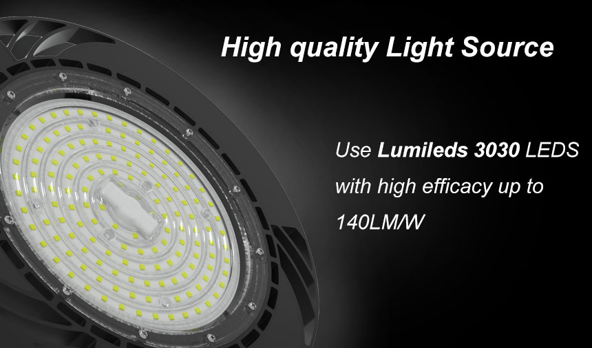140lm/w 200w meanwell driver lumileds 3030 ufo led high bay light light source