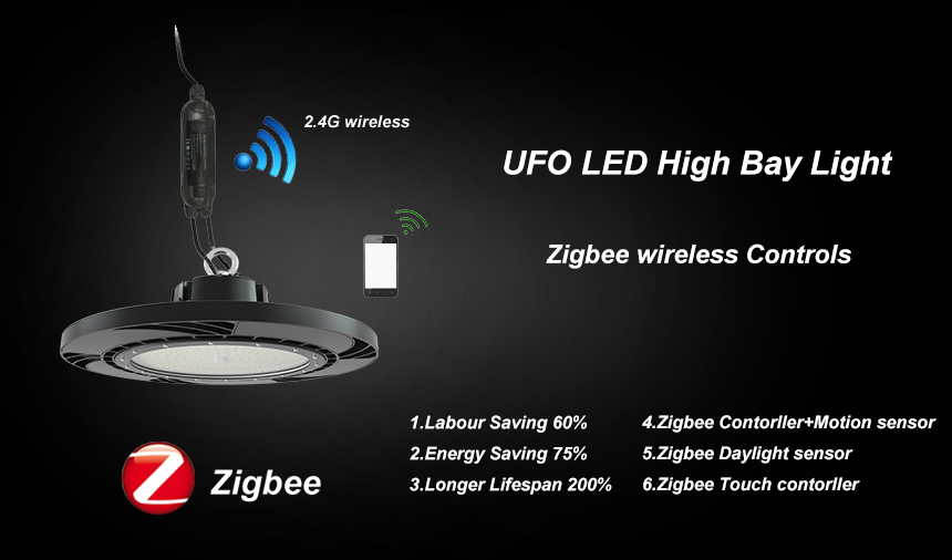 140lm/w 200w meanwell driver lumileds 3030 ufo led high bay light zigbee wireless controls