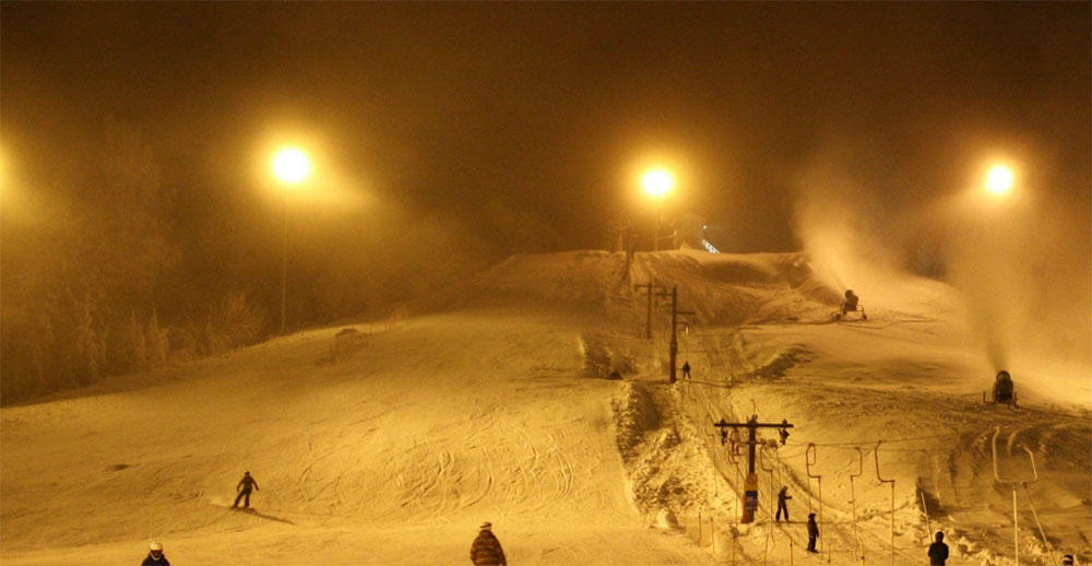 led ski slope light application