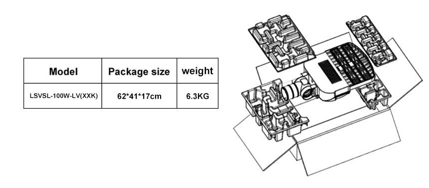 100w led area,street light package details