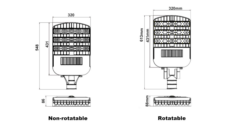 150w 145lm/w non-rotatable and rotatable led street light size